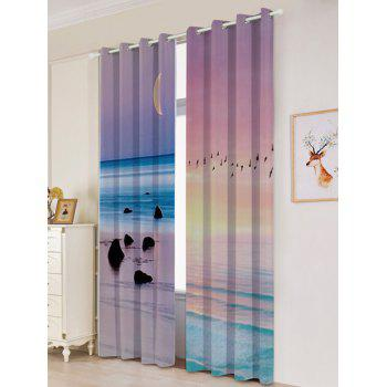 2Pcs Lightproof Seaside Sunset Printed Window Curtains - COLORFUL W53 INCH * L84.5 INCH