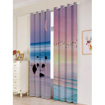 2Pcs Lightproof Seaside Sunset Printed Window Curtains - W53 INCH * L96.5 INCH W53 INCH * L96.5 INCH