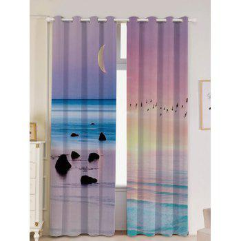 2Pcs Lightproof Seaside Sunset Printed Window Curtains