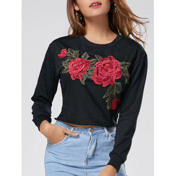Crew Neck Floral Embroidered Cropped Sweatshirt - BLACK M
