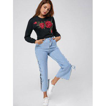 Crew Neck Floral Embroidered Cropped Sweatshirt - L L