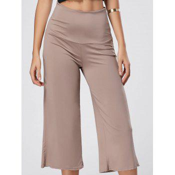 Wide Leg High Waisted Capri Pants - SKIN COLOR L