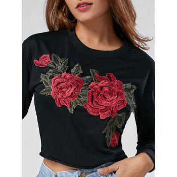 Crew Neck Floral Embroidered Cropped Sweatshirt - BLACK BLACK