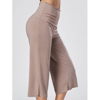 Wide Leg High Waisted Capri Pants - SKIN COLOR SKIN COLOR