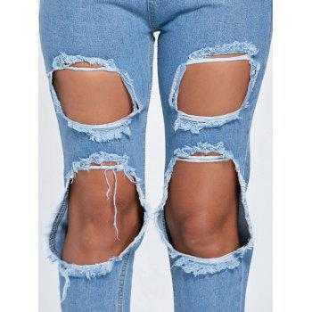 Distressed Cut Out Boyfriend Jeans - BLUE BLUE