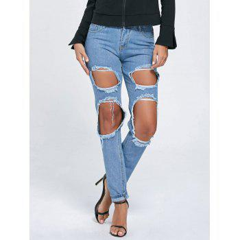 Distressed Cut Out Boyfriend Jeans - XL XL