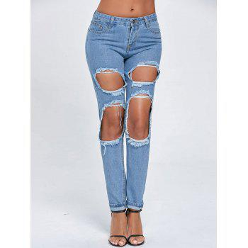 Distressed Cut Out Boyfriend Jeans - BLUE XL