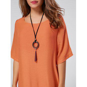 Robe de lin Maxi haute tenue asymétrique - Orange 2XL