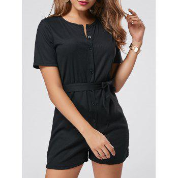 Button Down Belt Knit Romper - BLACK L