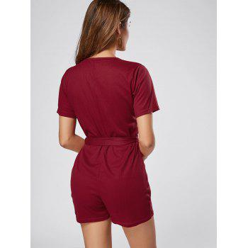Button Down Belt Knit Romper - WINE RED M