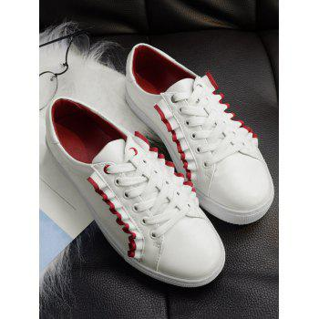 Ruffles Lace Up Flat Shoes - RED 38