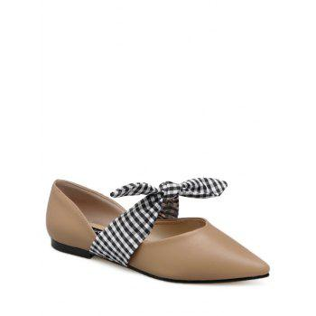 Faux Leather Tie Up Flat Shoes - APRICOT 39