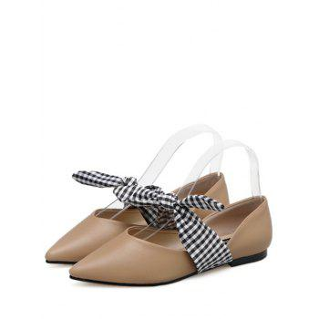 Faux Leather Tie Up Flat Shoes - 37 37