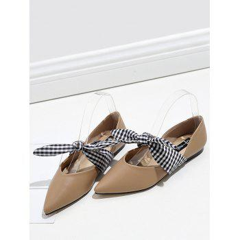 Faux Leather Tie Up Flat Shoes - APRICOT 38