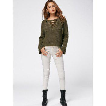 Lace Up Raglan Sleeve High Low Sweater - LAWN LAWN
