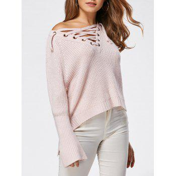 Lace Up Raglan Sleeve High Low Sweater - LIGHT PINK ONE SIZE