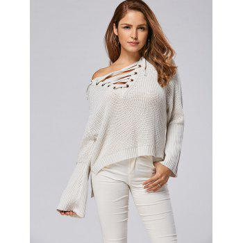 Lace Up Raglan Sleeve High Low Sweater - LIGHT GRAY LIGHT GRAY