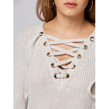 Lace Up Raglan Sleeve High Low Sweater - ONE SIZE ONE SIZE