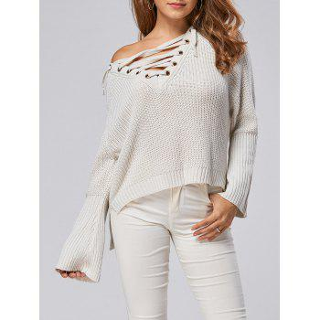 Lace Up Raglan Sleeve High Low Sweater
