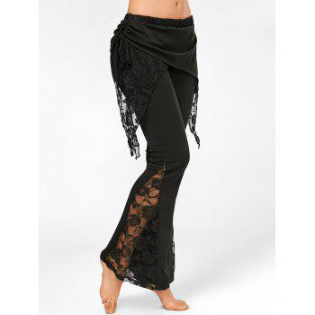 High Waisted Lace Insert Boot Cut Pants