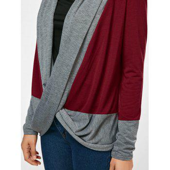 Long Sleeve Color Block Criss Cross T-Shirt - WINE RED XL