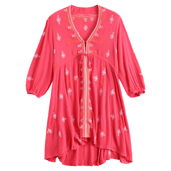 Stylish Plunging Neck 3/4 Sleeve Retro Embroidery Women's Dress - RED L