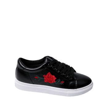 Faux Leather Embroidered Athletic Shoes - 37 37