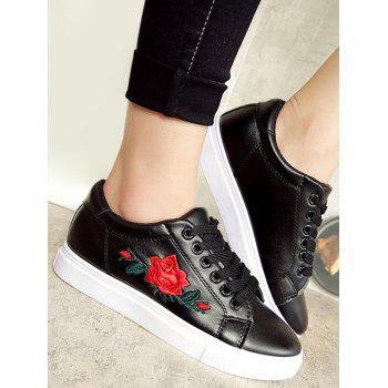 Faux Leather Embroidered Athletic Shoes - BLACK 40