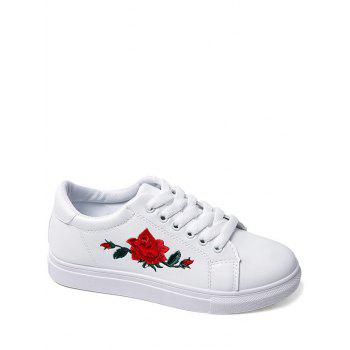 Faux Leather Embroidered Athletic Shoes - WHITE 40