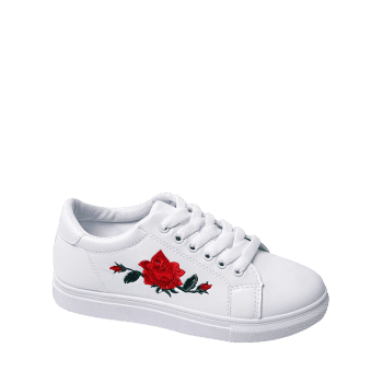 Faux Leather Embroidered Athletic Shoes - WHITE 37