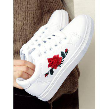 Faux Leather Embroidered Athletic Shoes - WHITE WHITE