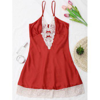 Lace Panel Satin Cami Babydoll - RED ONE SIZE