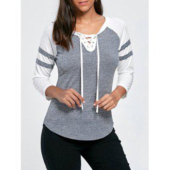 Lace Up Raglan Sleeve Casual T-shirt