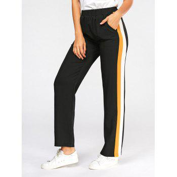 Casual Three Tones Elastic High Wasit Pants - BLACK S