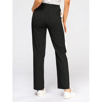 Casual Three Tones Elastic High Wasit Pants - S S