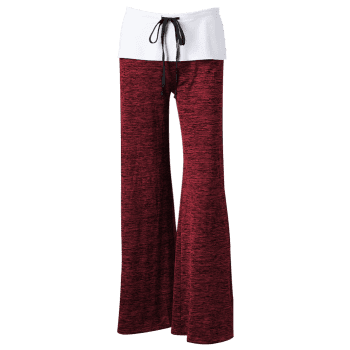 Foldover Heather Wide Leg Pants - RED RED