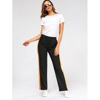 Casual Three Tones Elastic High Wasit Pants - XL XL