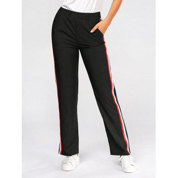 Color Block Side Elastic High Waisted Pants - BLACK M