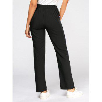 Color Block Side Elastic High Waisted Pants - M M