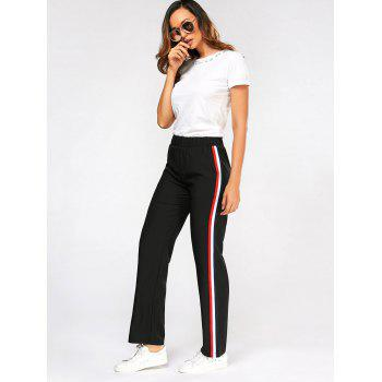 Color Block Side Elastic High Waisted Pants - XL XL