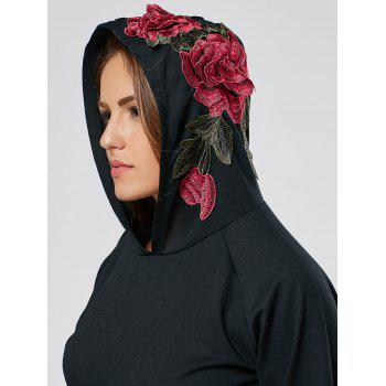 Floral Embroidered Tunic Hoodie - BLACK BLACK