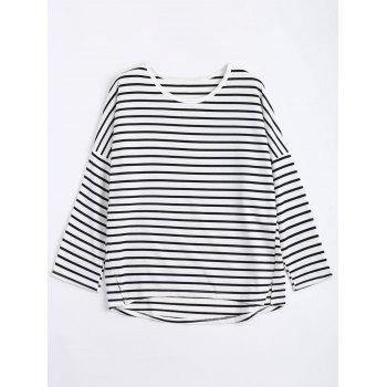 Plus Size Stripe Drop Shoulder Sweatshirt