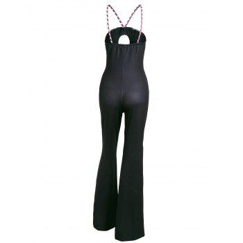 Striped Keyhole Spaghetti Strap Jumpsuit - RED S