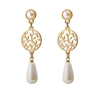 Round Life Tree Faux Pearl Pendant Earrings