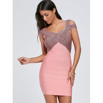 Striped Cap Sleeve Bodycon Bandage Dress