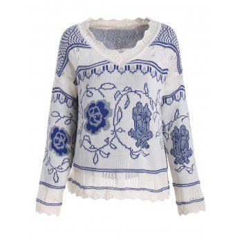 V Neck Plus Size Knit Graphic Sweater
