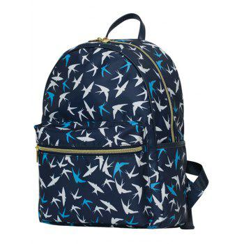 Polyester Zippers Color Block Backpack - DEEP BLUE