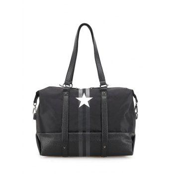 Nylon Rivets Star Print Shoulder Bag - BLACK BLACK
