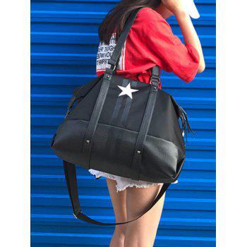 Nylon Rivets Star Print Shoulder Bag - BLACK