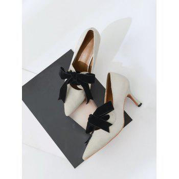 Bow Pointed Toe Mid Heel Pumps - 37 37